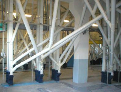 Фото самоплинного обладнання, самопливні труби для зерна, транспортування борошняних продуктів, системи комунікацій самопливного типу, види самоплинного обладнання, самоплинне обладнання для елеваторів